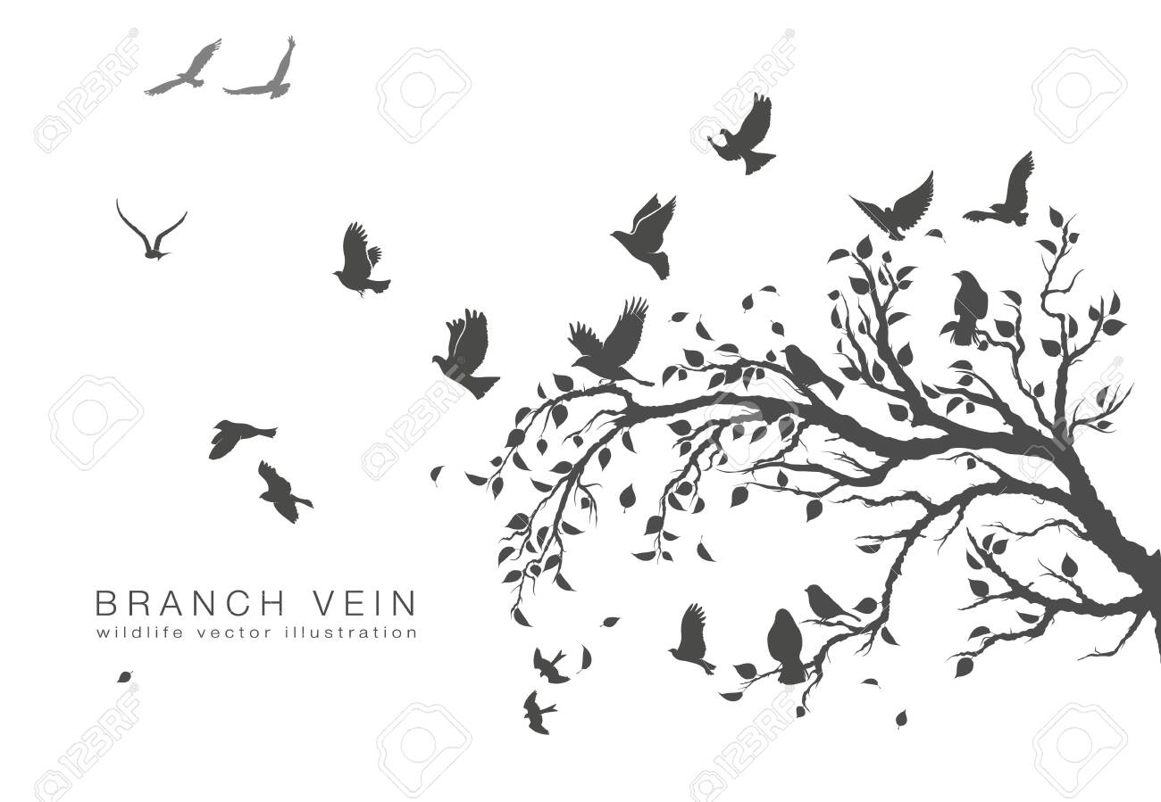 figure flock of flying birds on tree branch - 129725571