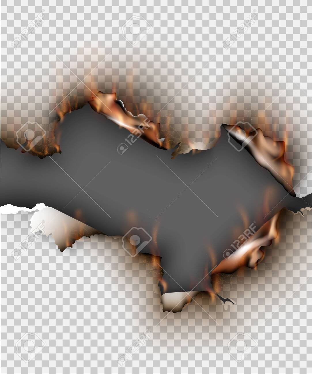 Hole torn in ripped paper with burnt and flame on transparent background - 144883605