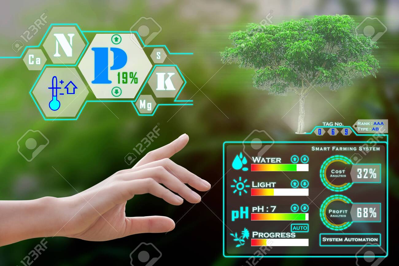 Smart farming with IoT, futuristic agriculture concept : Farmer can monitoring all situation, cost anylysis, profit and loss on one finger click and with immersive experience on digital holographic screen - Image - 132576973