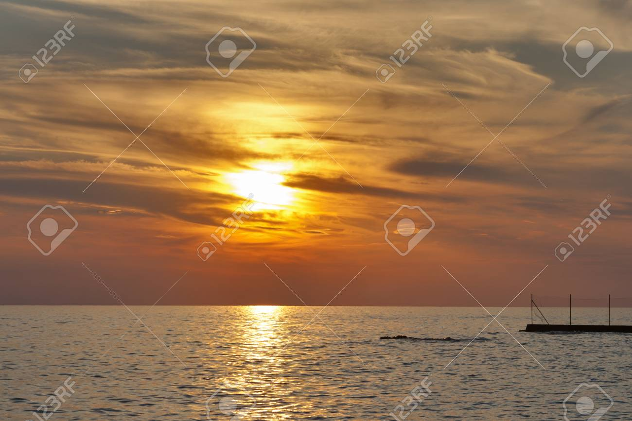 Adriatic sea and red blue sky at sunset in Croatia - 16720744