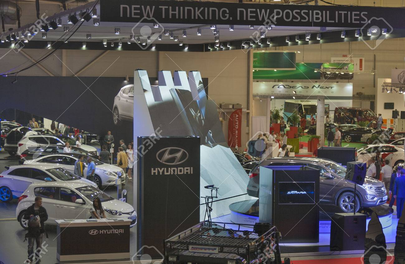 Exhibition Booth Sia : Kiev ukraine may visitors visit hyundai booth with