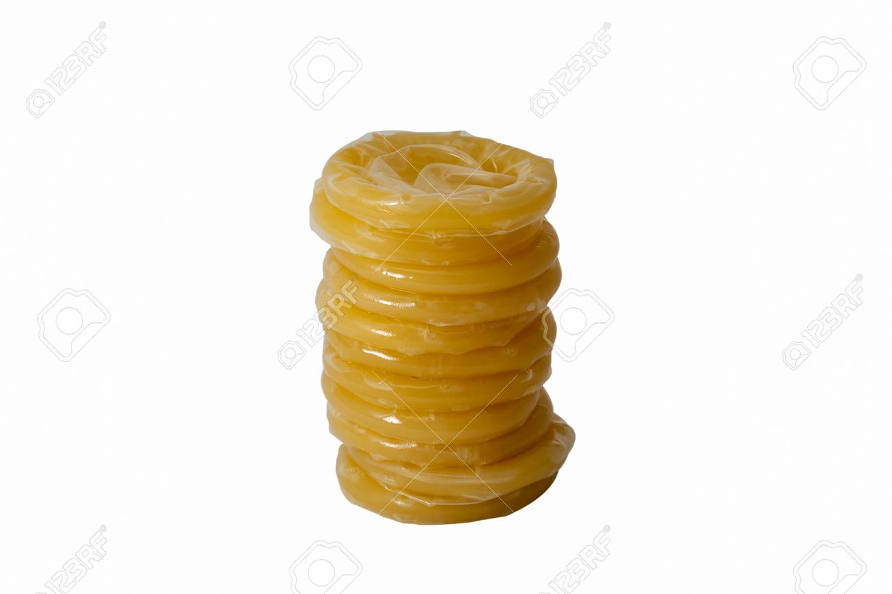 Rolled Latex Condoms Stacked Small Turret Closeup Isolated On ...