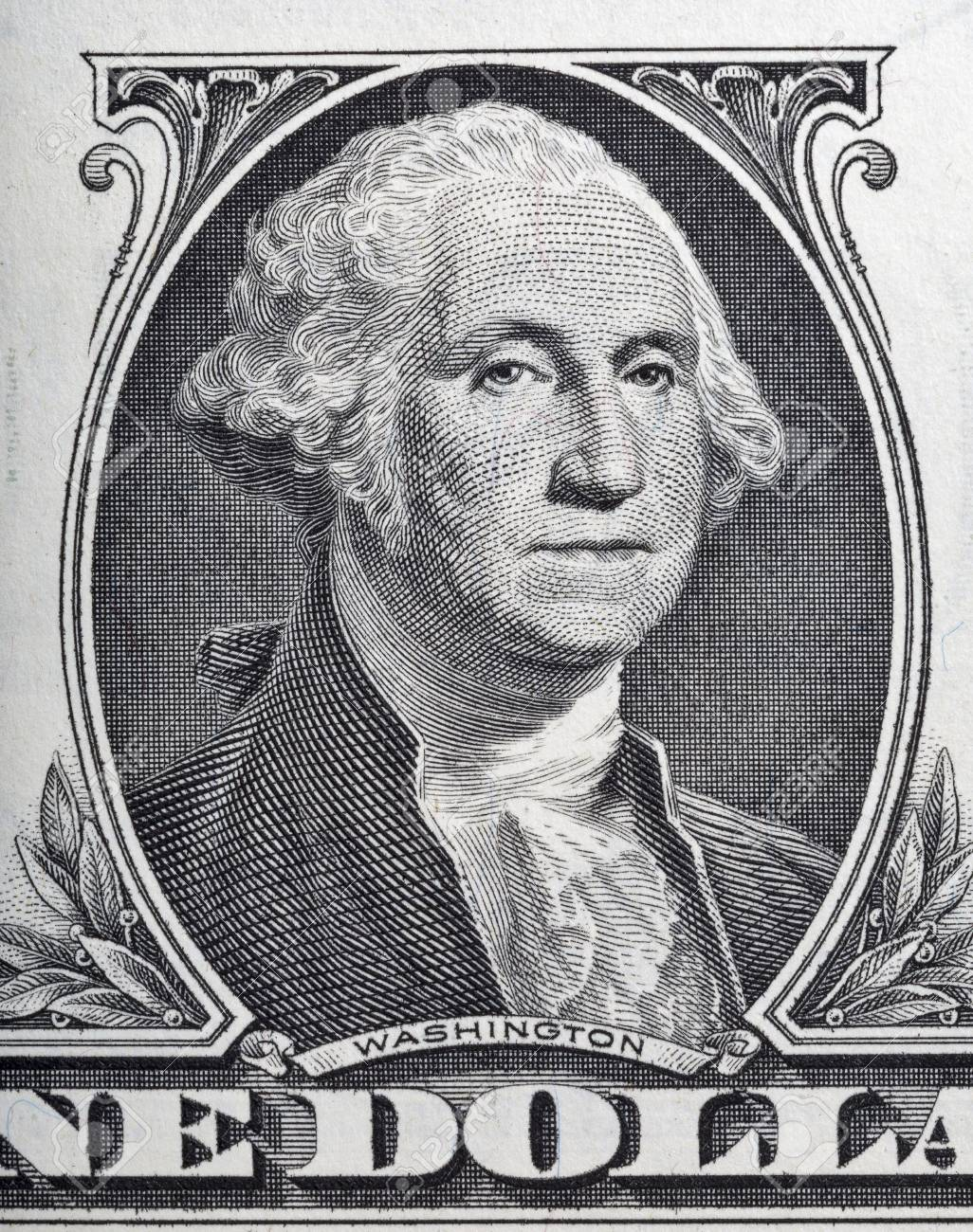 Macro Of George Washington Face On One Dollar Bill Stock P O 65017549