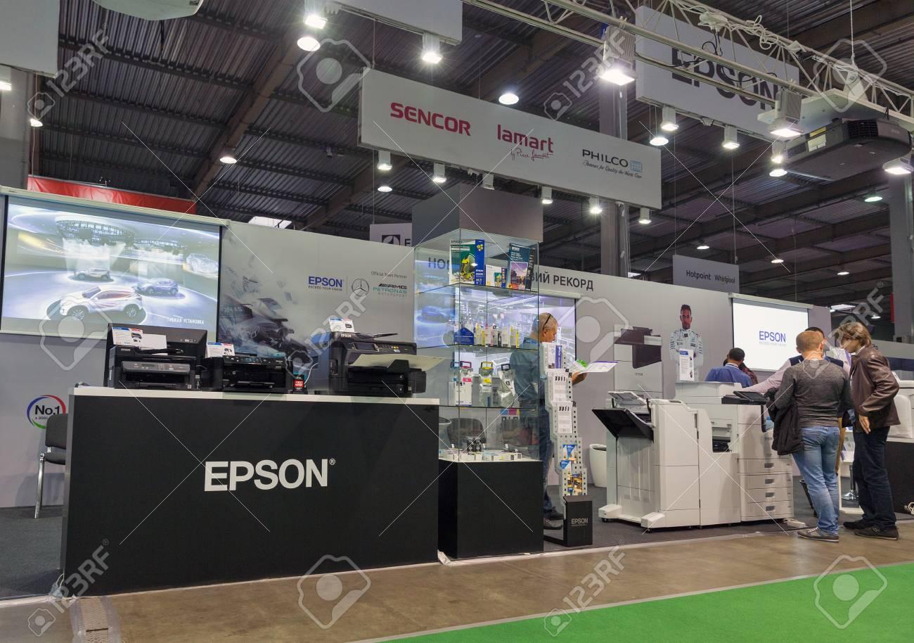KIEV, UKRAINE - OCTOBER 07, 2017: People visit Epson, Japanese
