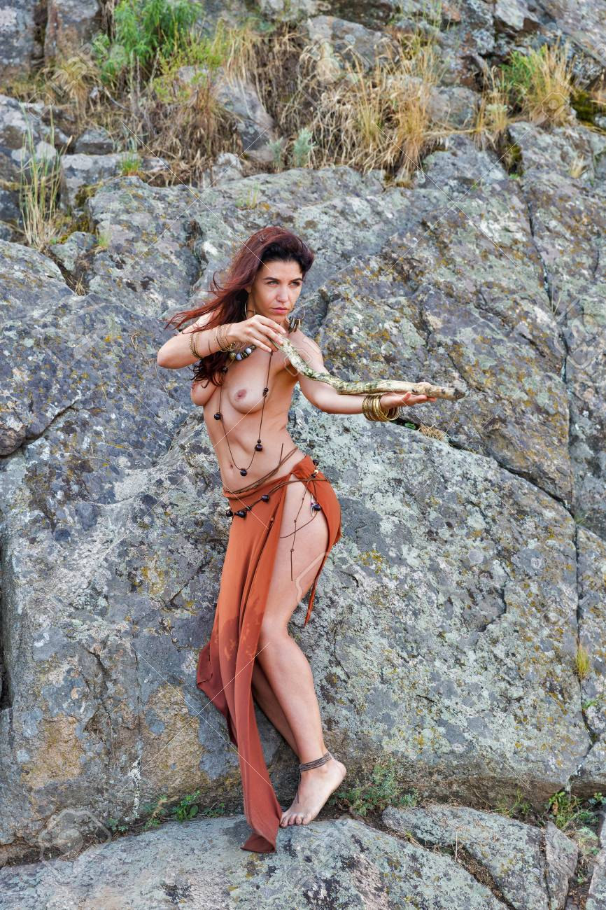 Amazon Nude Pic young caucasian beautiful naked amazon woman stands with wooden..