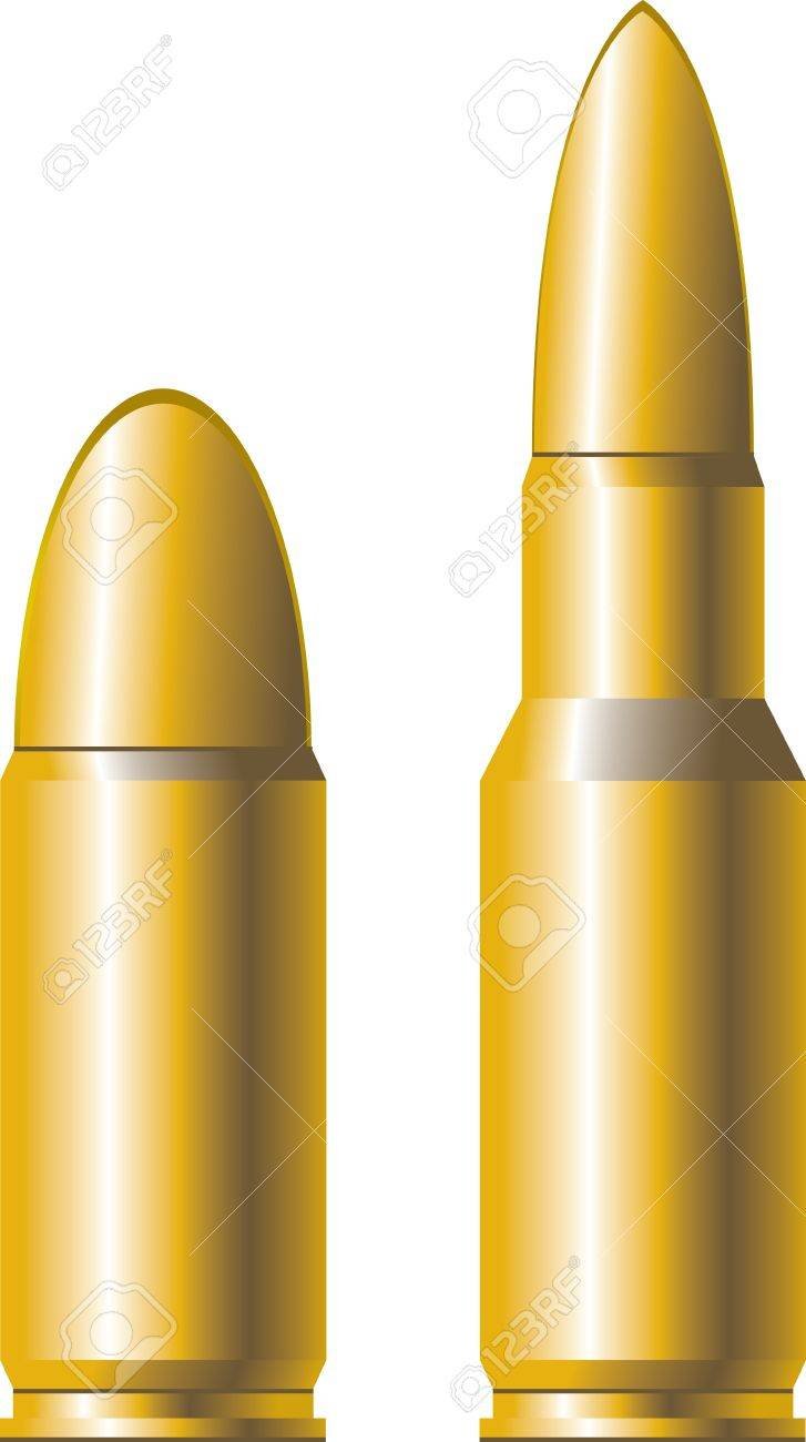 two gold cartridges for firearms - 10832246