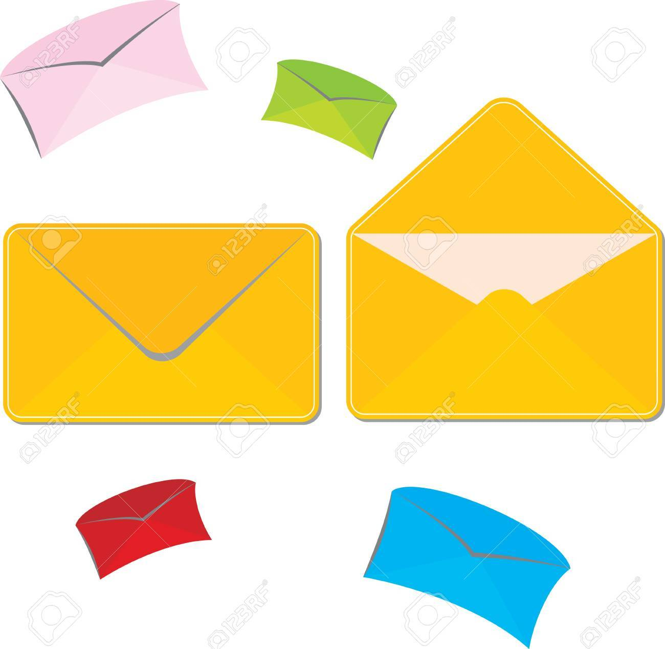set of colored large and small mailing envelopes Stock Vector - 12112584
