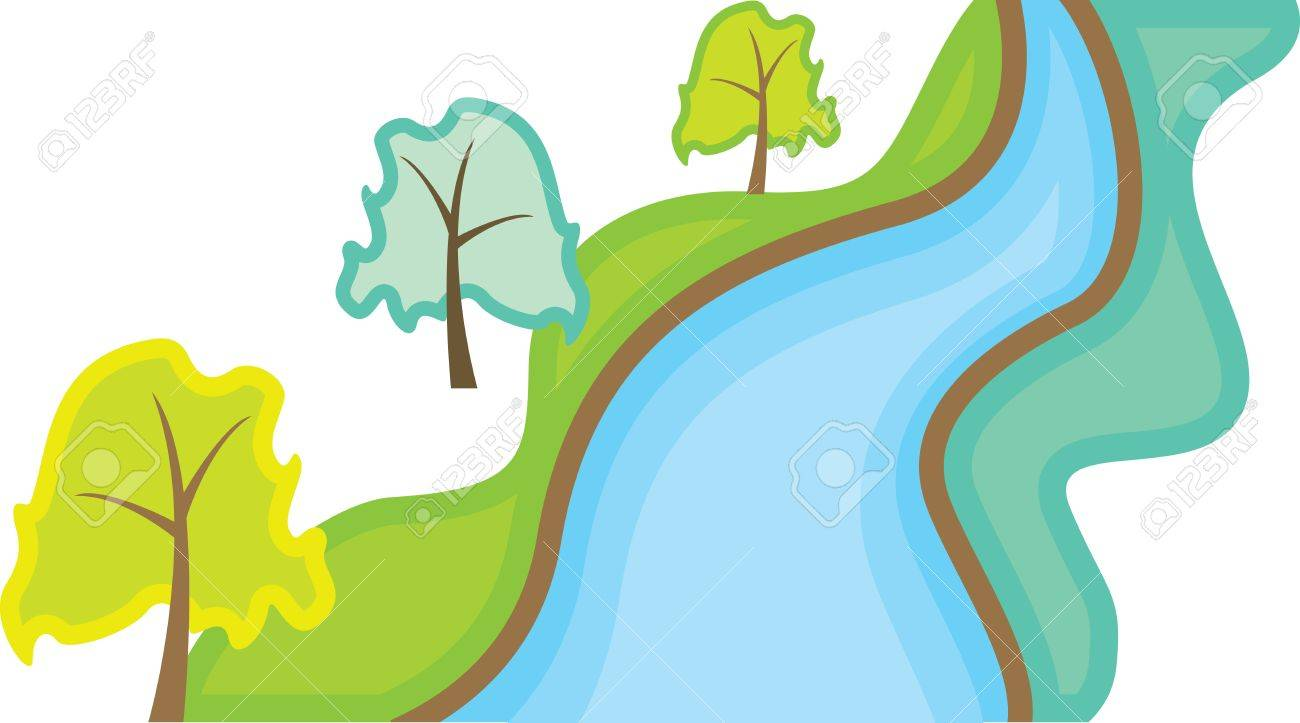 landscape with trees and river - 12332409