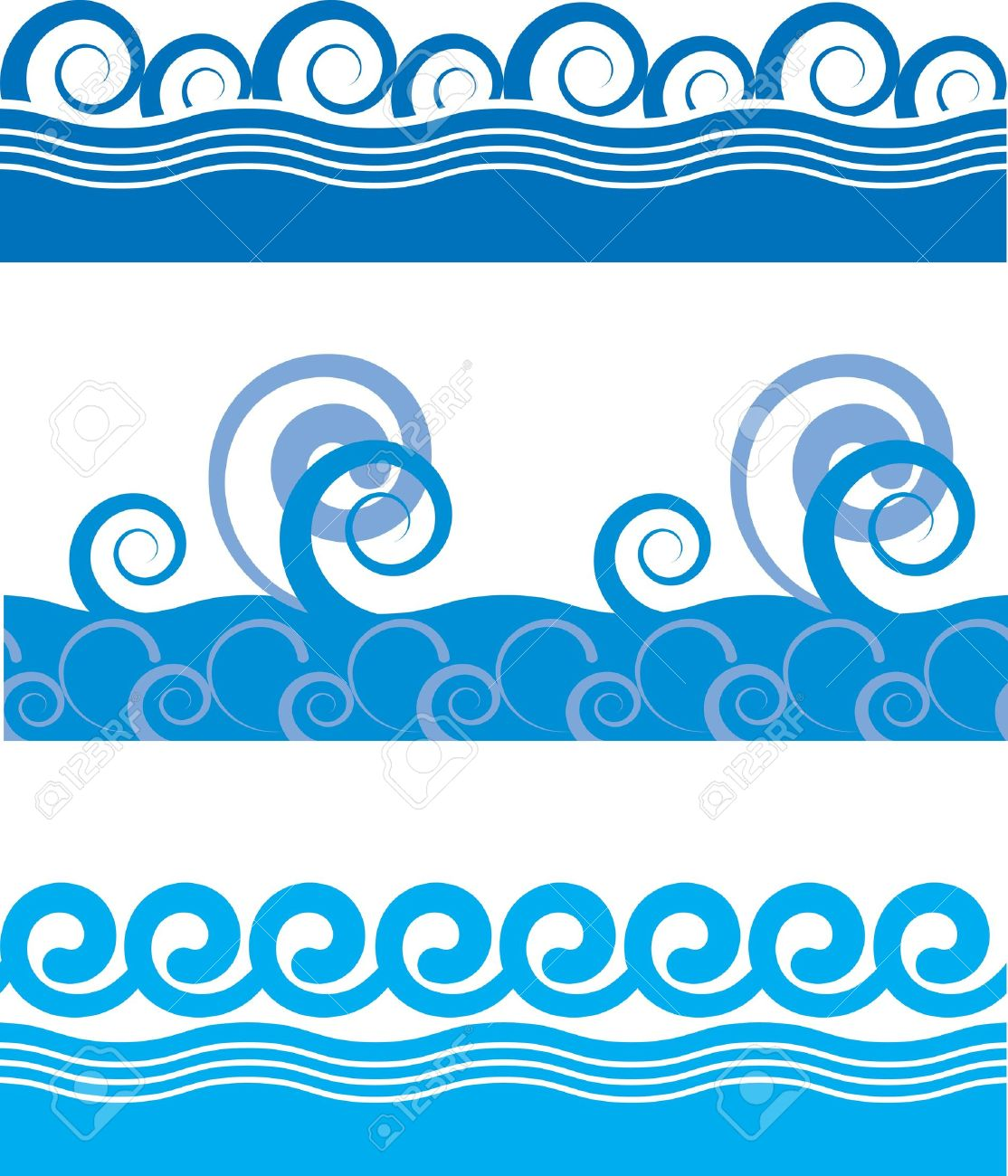 set of seamless texture of sea waves - 12685513