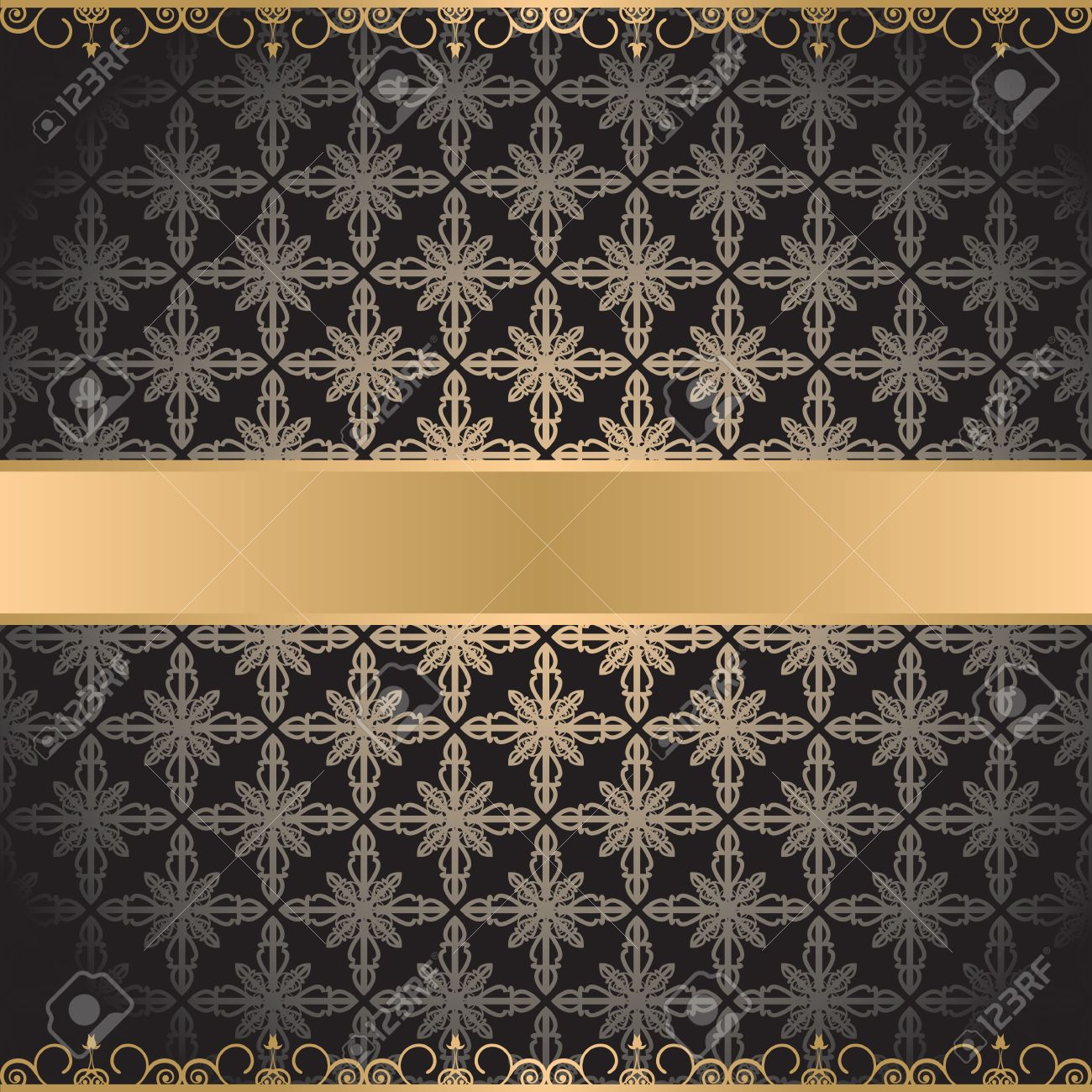 black vintage background with gold elements Stock Vector - 13239112