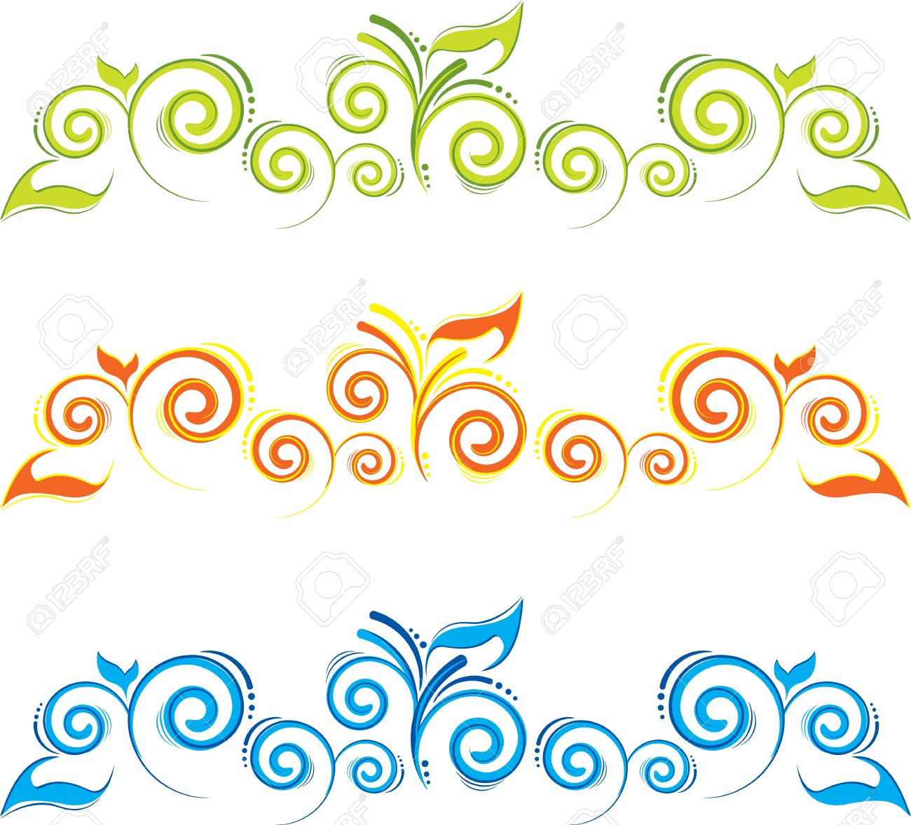set of floral borders with swirls Stock Vector - 14671128