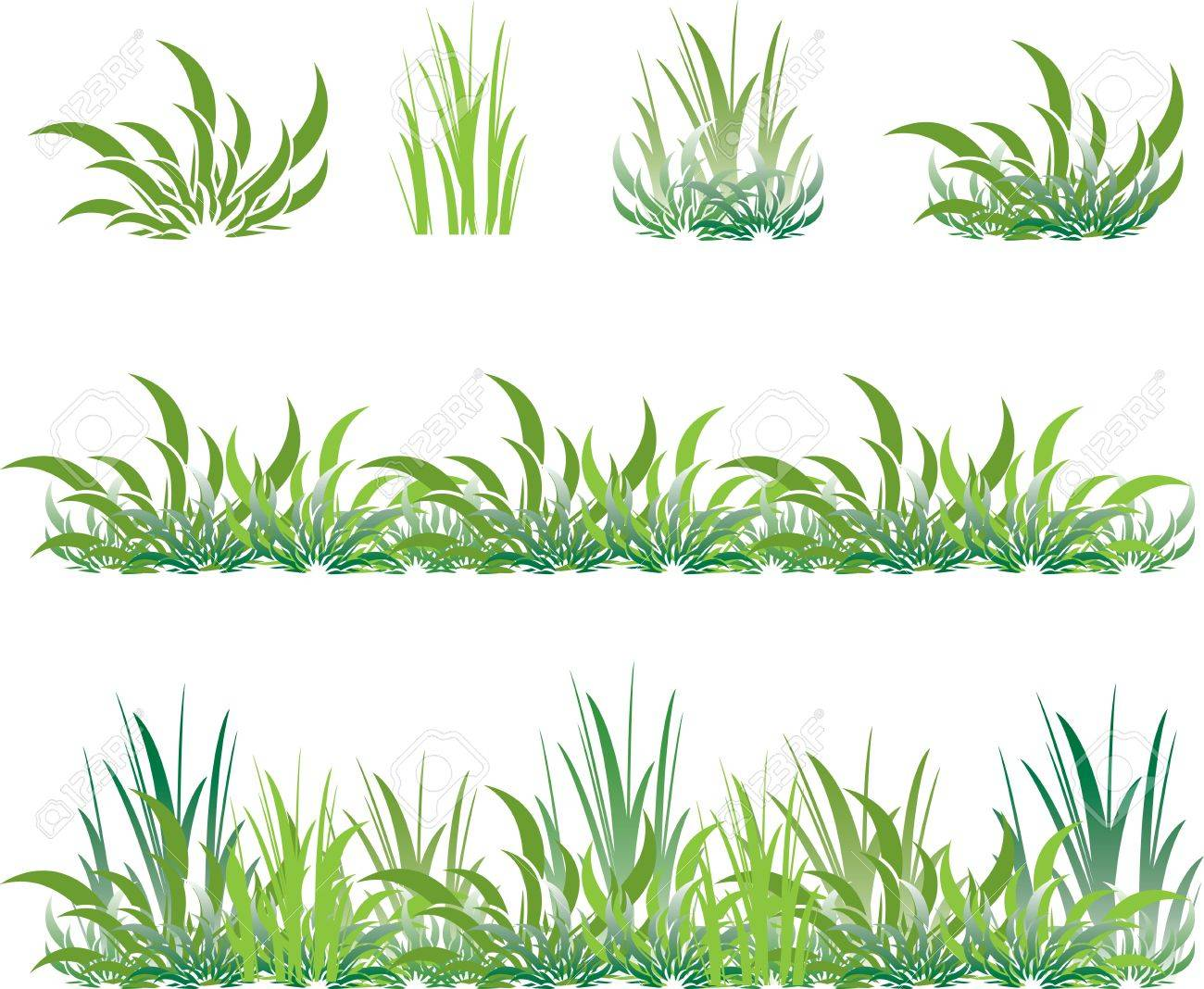 Set Of Green Grass And Shrubs Royalty Free Cliparts Vectors And
