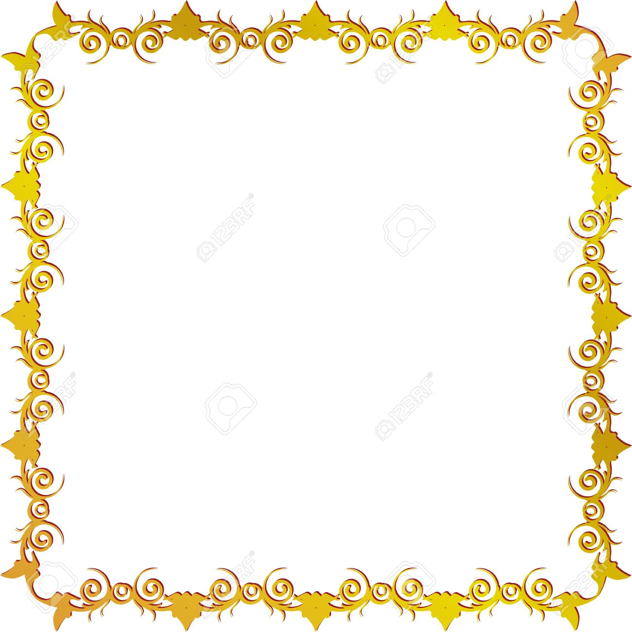 vector golden square frame with leaves
