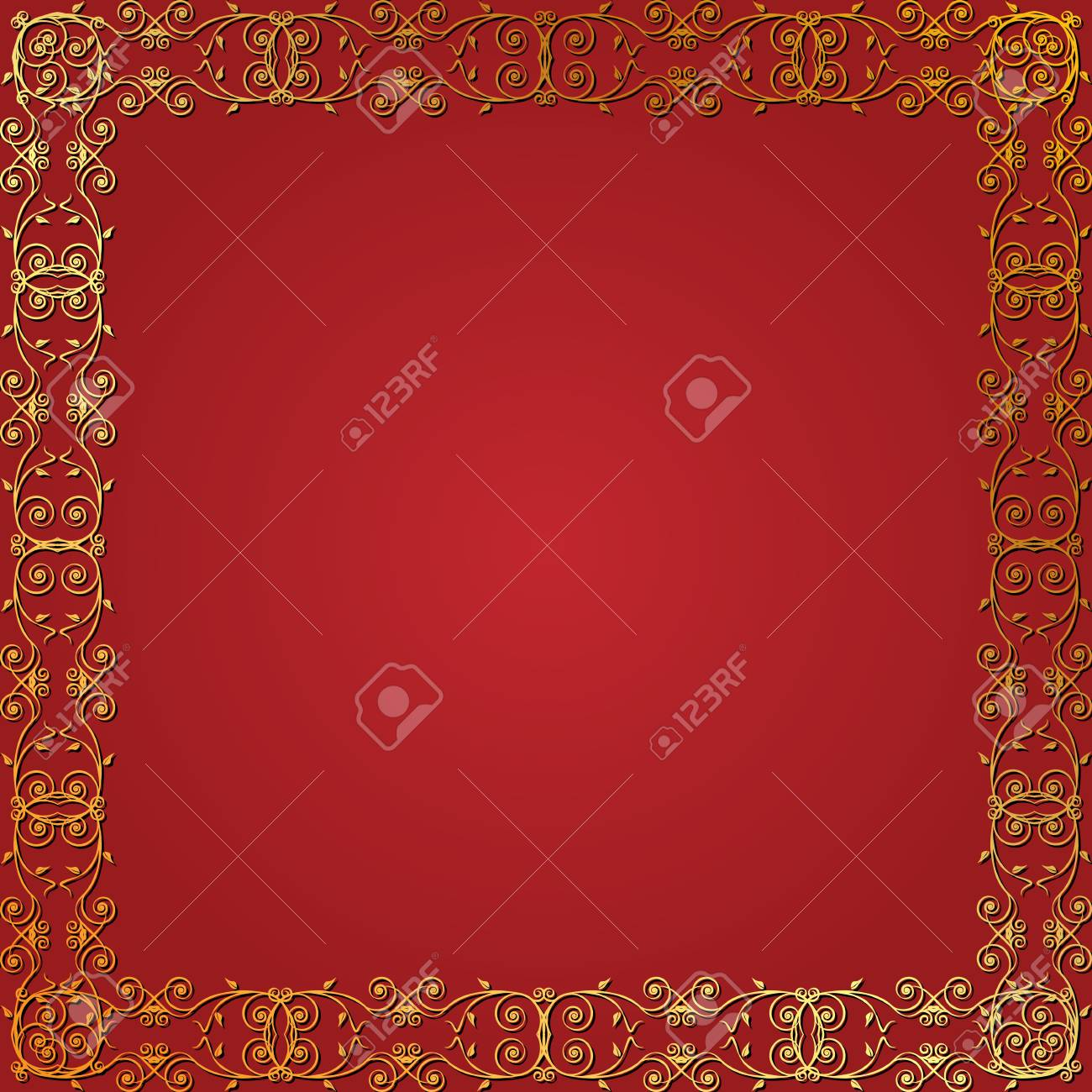 Seamless gold floral frame on a red background Stock Vector - 17999305