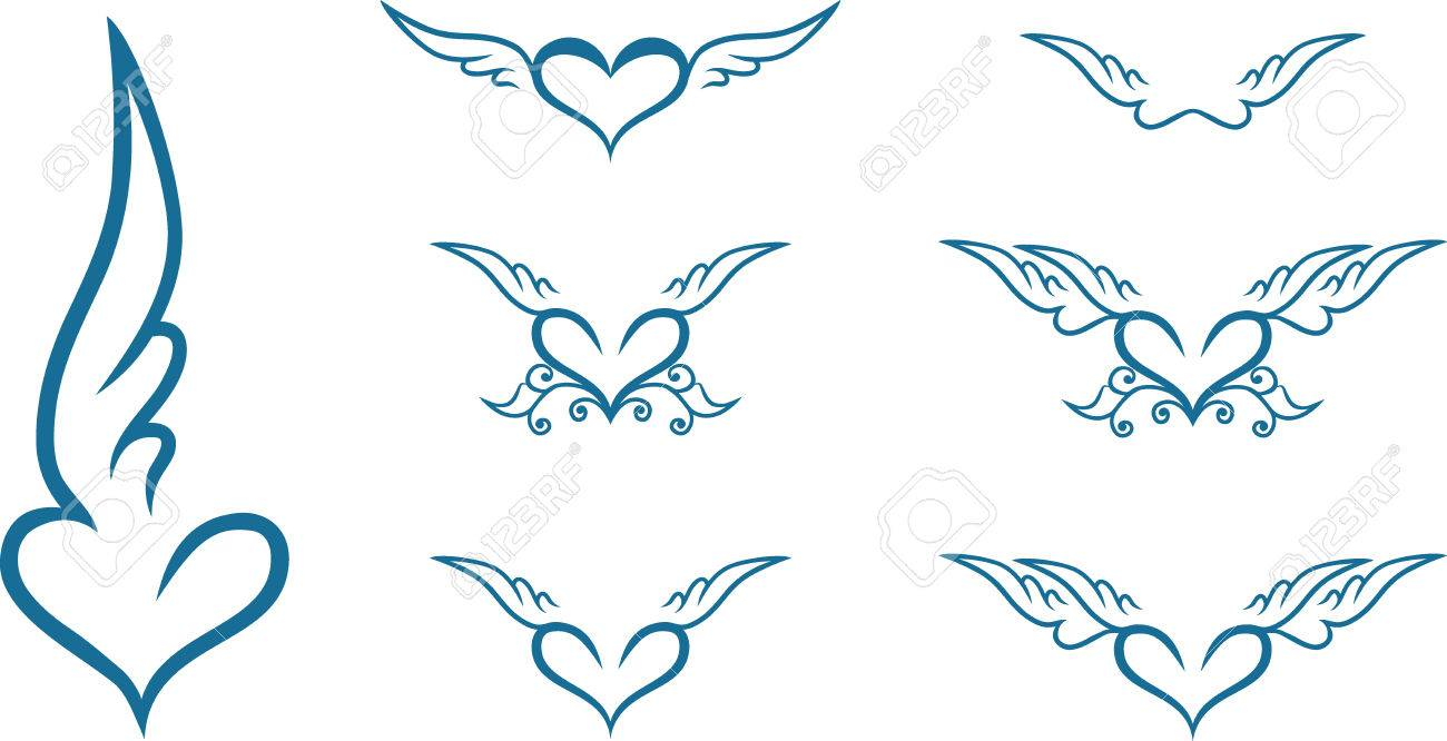 Set of vintage heart with wings - 29901616
