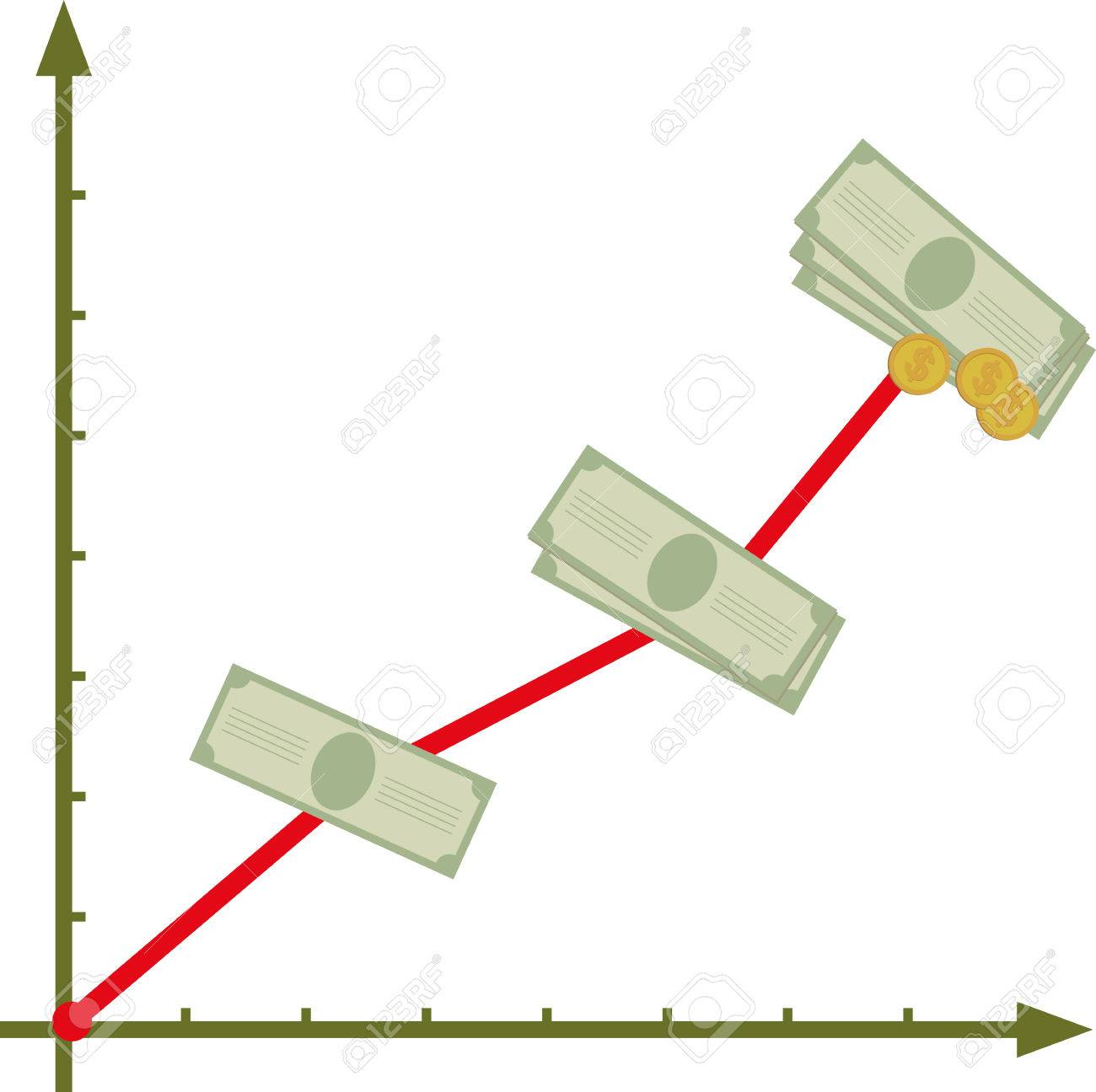 Financial graph with rising incomes - 34362891