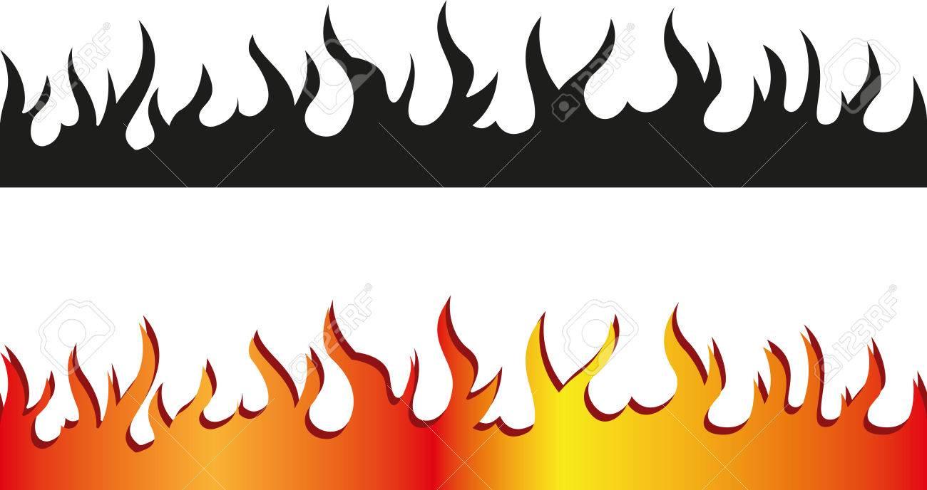 Set of Seamless flame border - 36817542