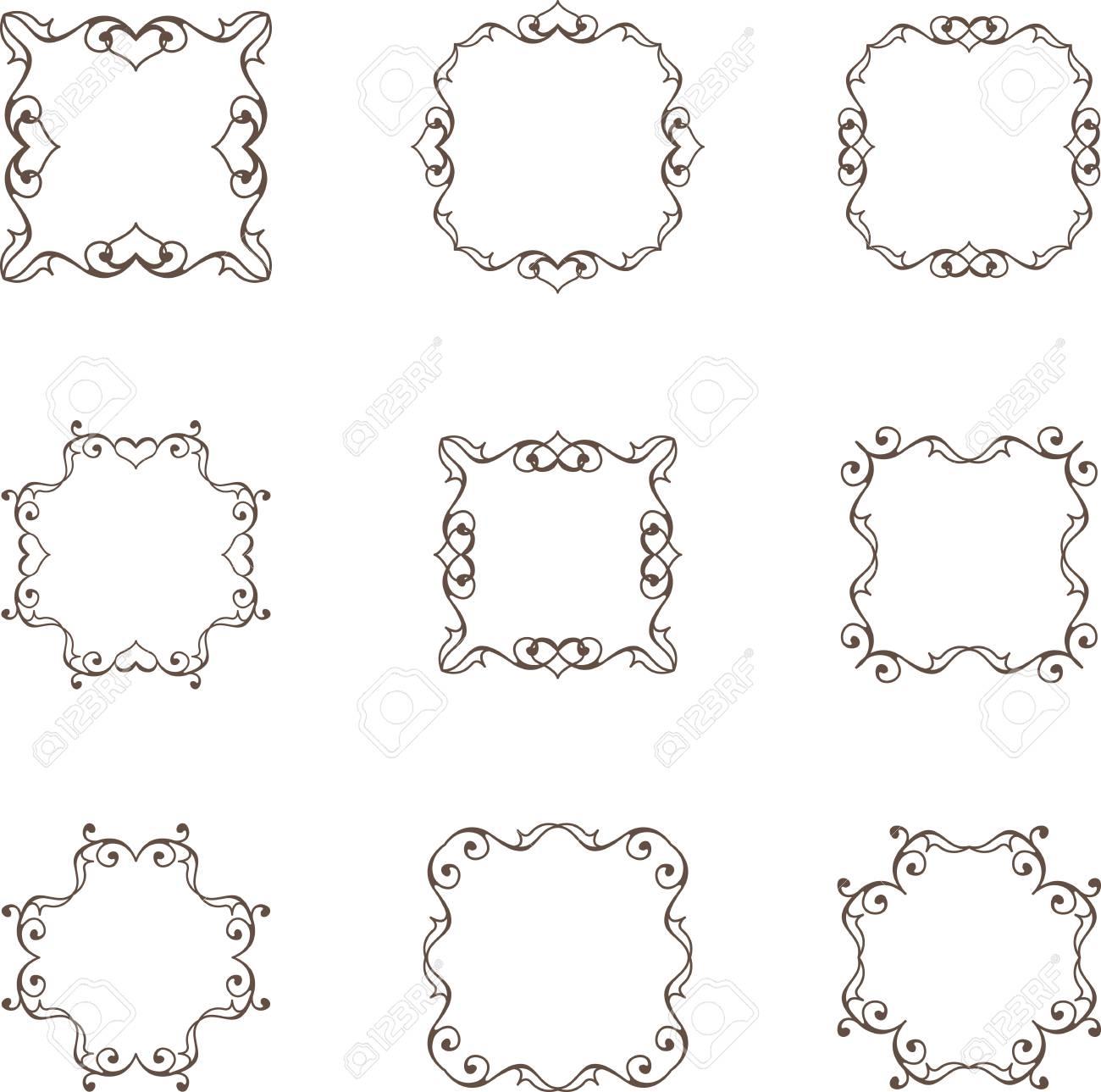 Set of floral heart frames - 39705443