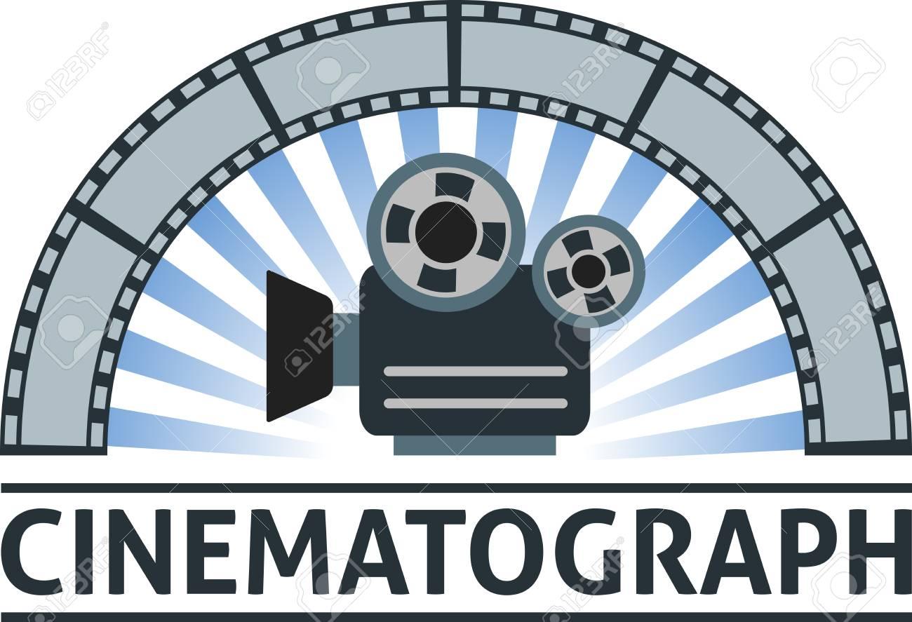 Flat emblem of camera and film. - 56635234