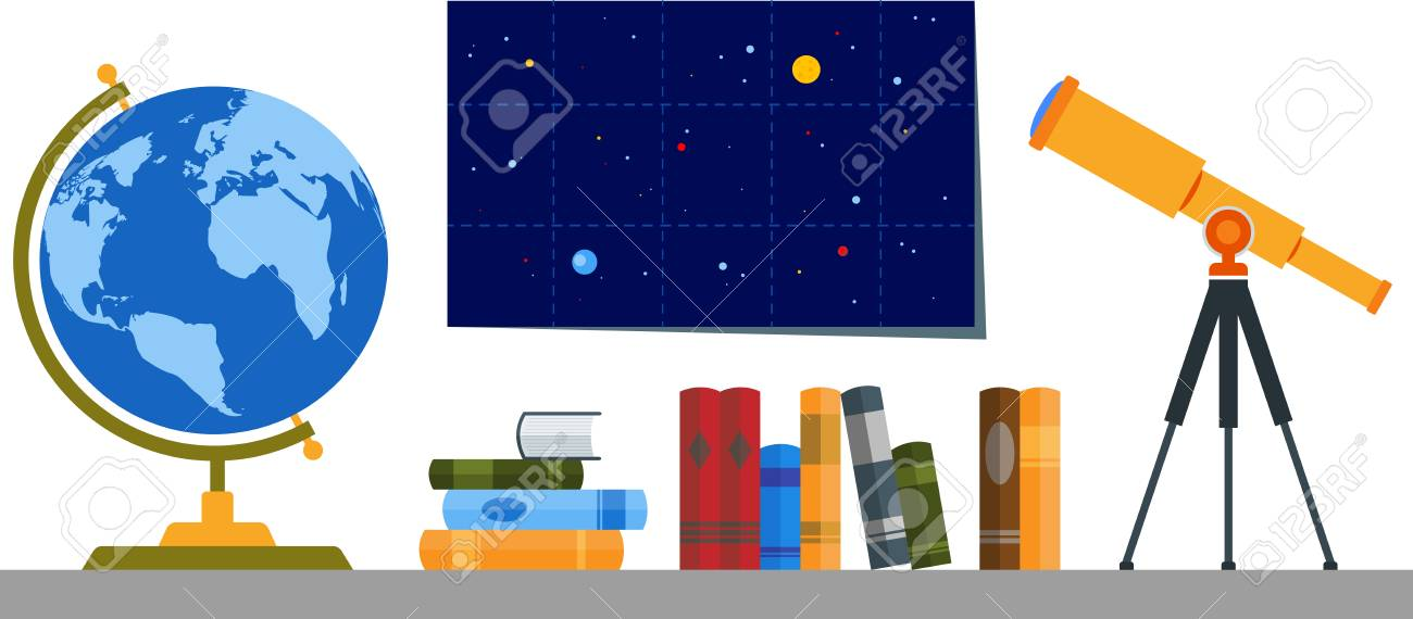 Bookshelf with globe telescope and cosmos map royalty free bookshelf with globe telescope and cosmos map stock vector 66073626 gumiabroncs Choice Image