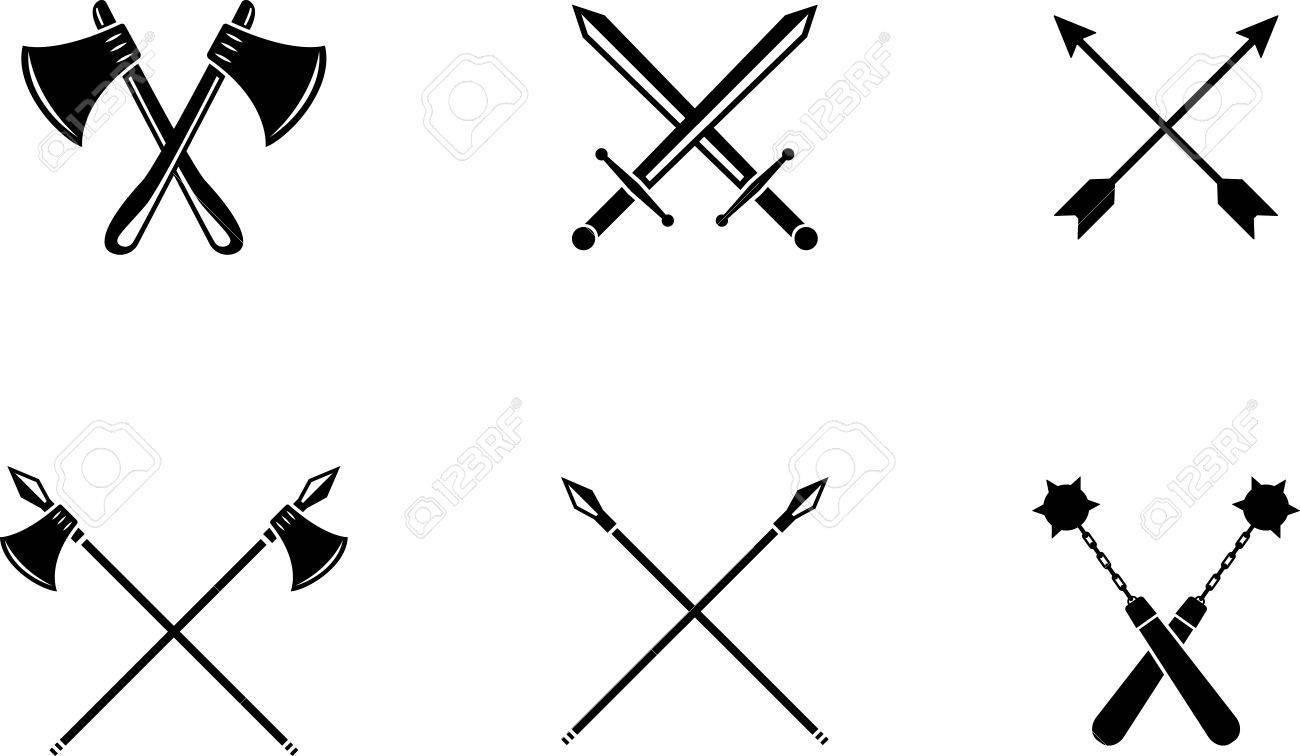 Black emblem of medieval weapons. Medieval black symbol - 83320708