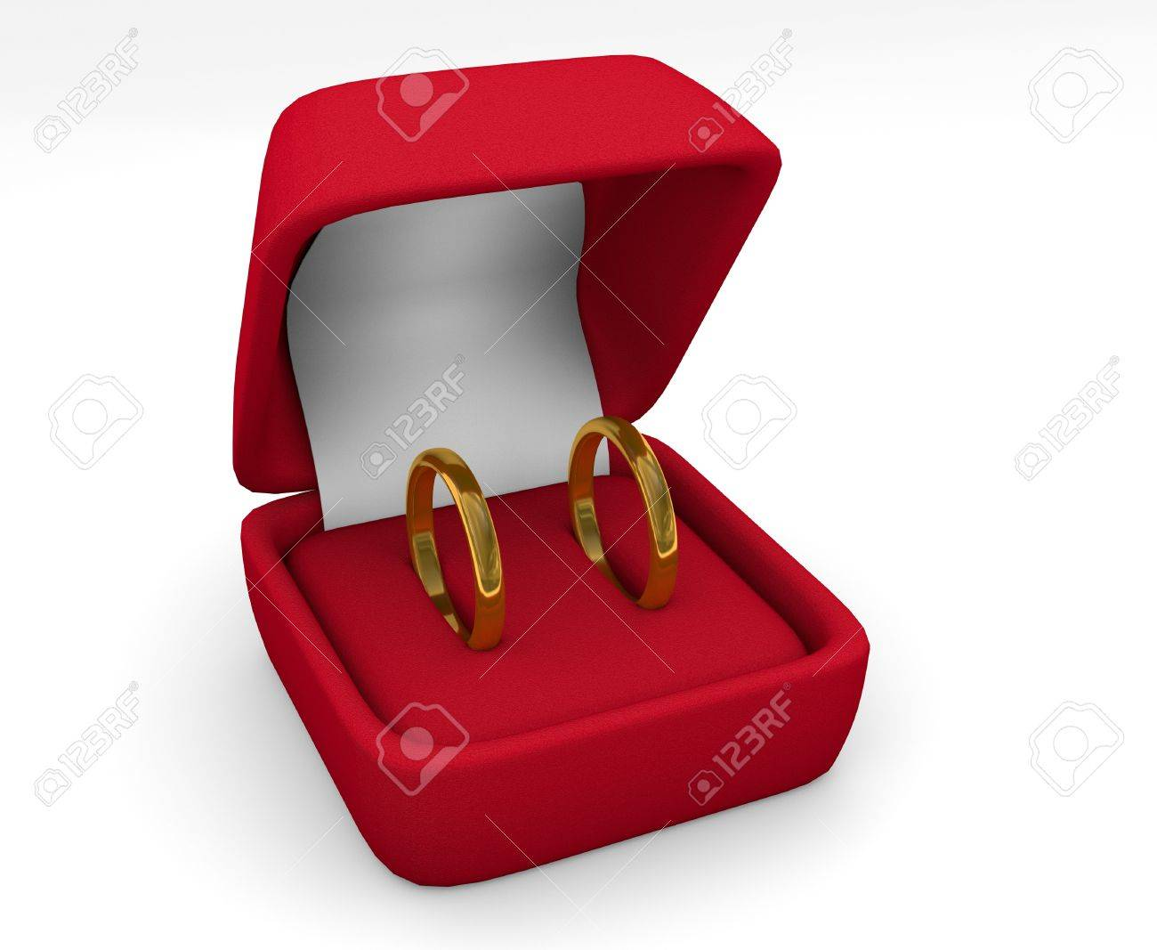 Two Wedding Ring In Box On White Background Stock Photo, Picture And ...