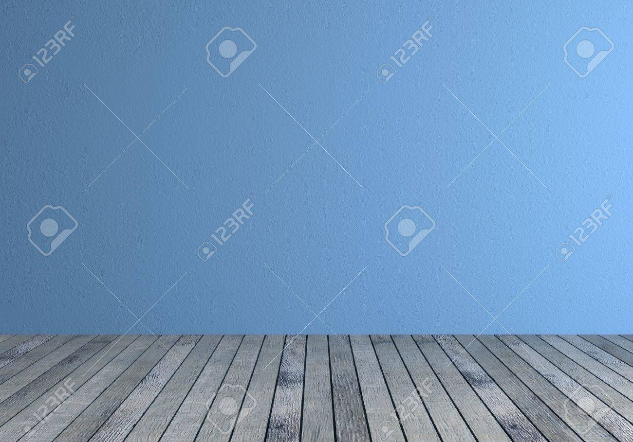 Front View Of A Empty Room With Blue Wall And Gray Wood Floor Stock ...