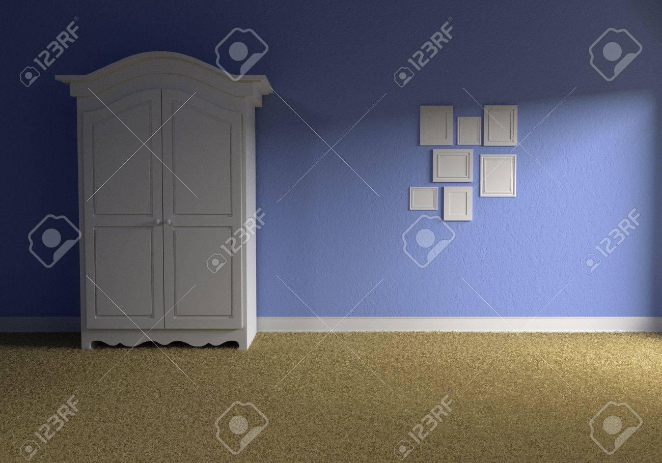 Vorderansicht Eines Leeren Baby Blue Zimmer Mit Einem Weißen Schrank ...