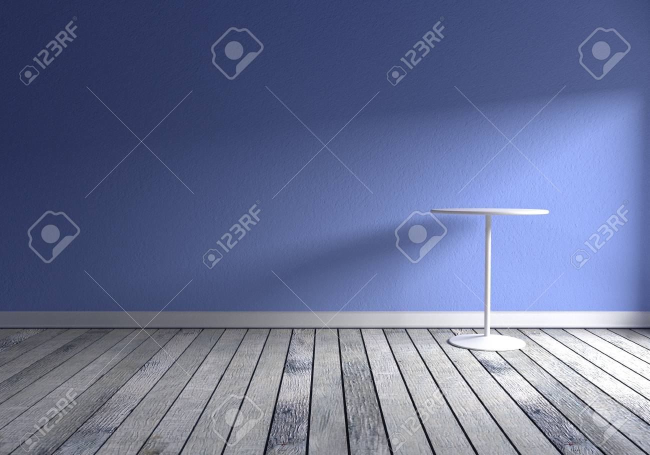 Front View Of A Empty Room With Blue Wall, Gray Wood Floor And ...