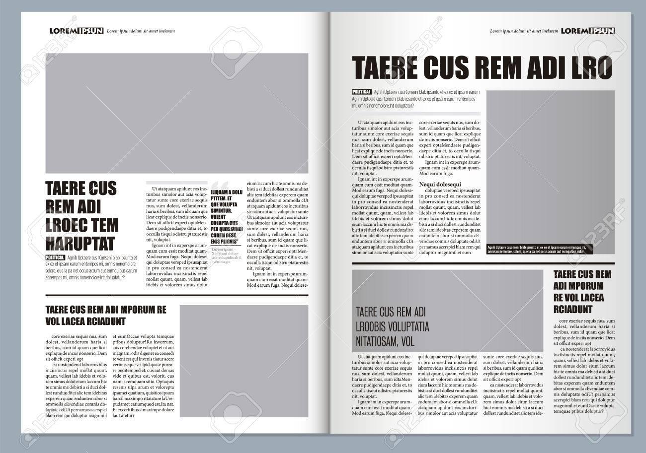 Plantilla Periódico Diseño Gráfico Tradicional, Colores Grises Y ...
