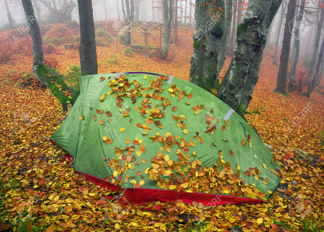 Stock Photo Tent tourist lonely backfilled