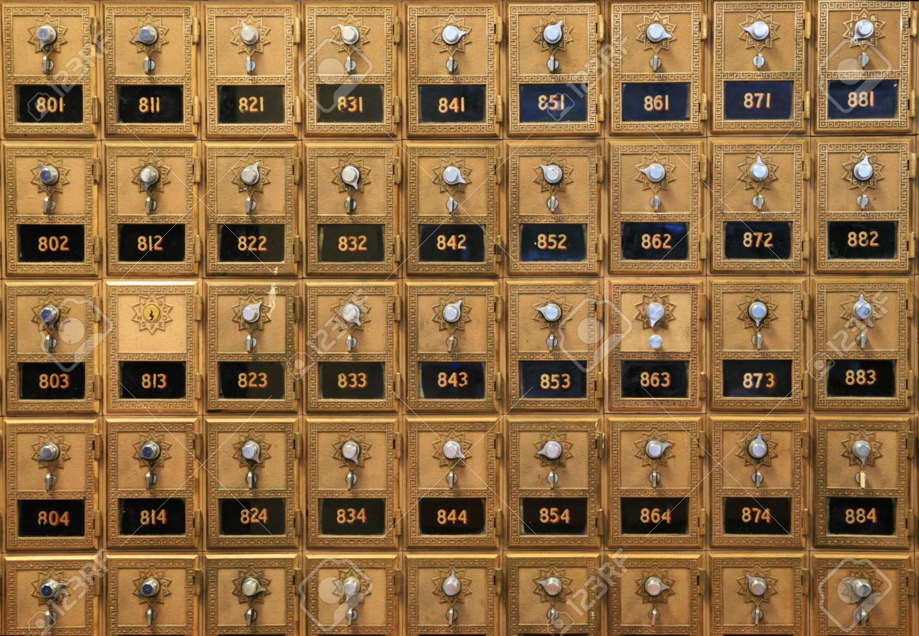 An Array Of Old Mail Boxes In A Post Office Stock Photo, Picture ...