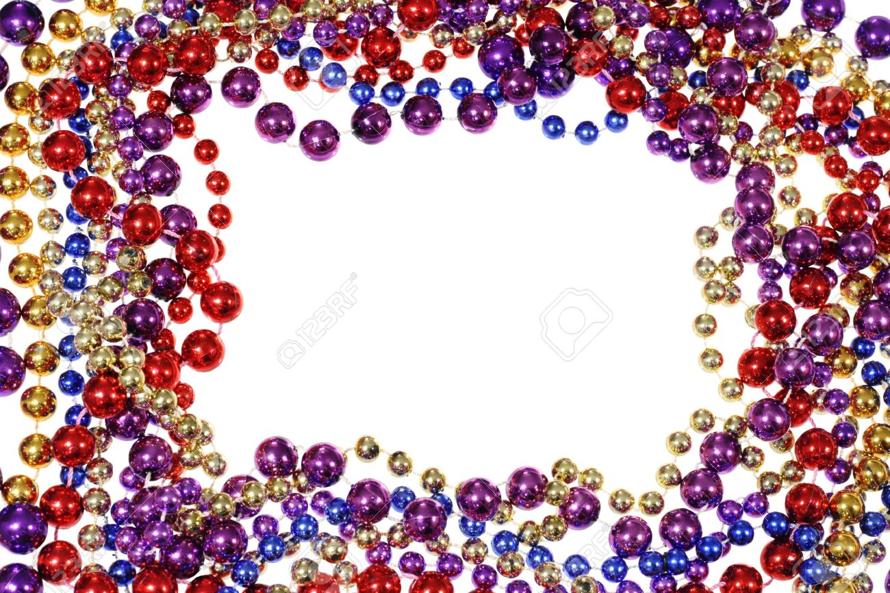 Border Frame Of Mardi Gras Bead Necklaces Isolated On White Stock ...