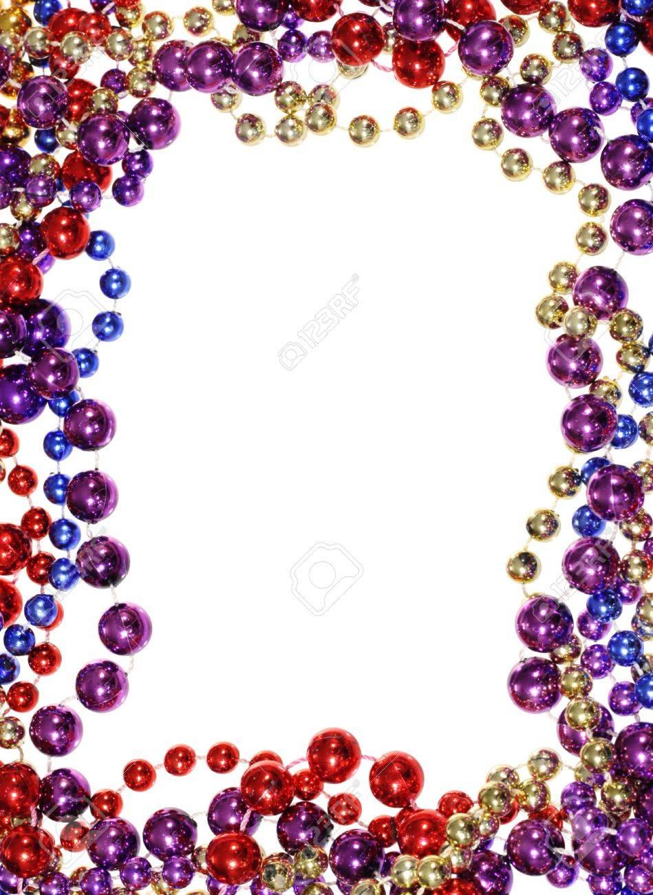 Vertical Image Of Border Outline Frame Of Mardi Gras Bead Necklaces ...