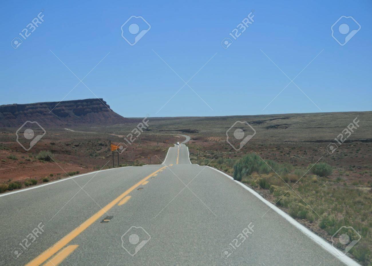highway 89A in Northern Arizona cuts across the desert into heat haze Stock Photo - 3861265