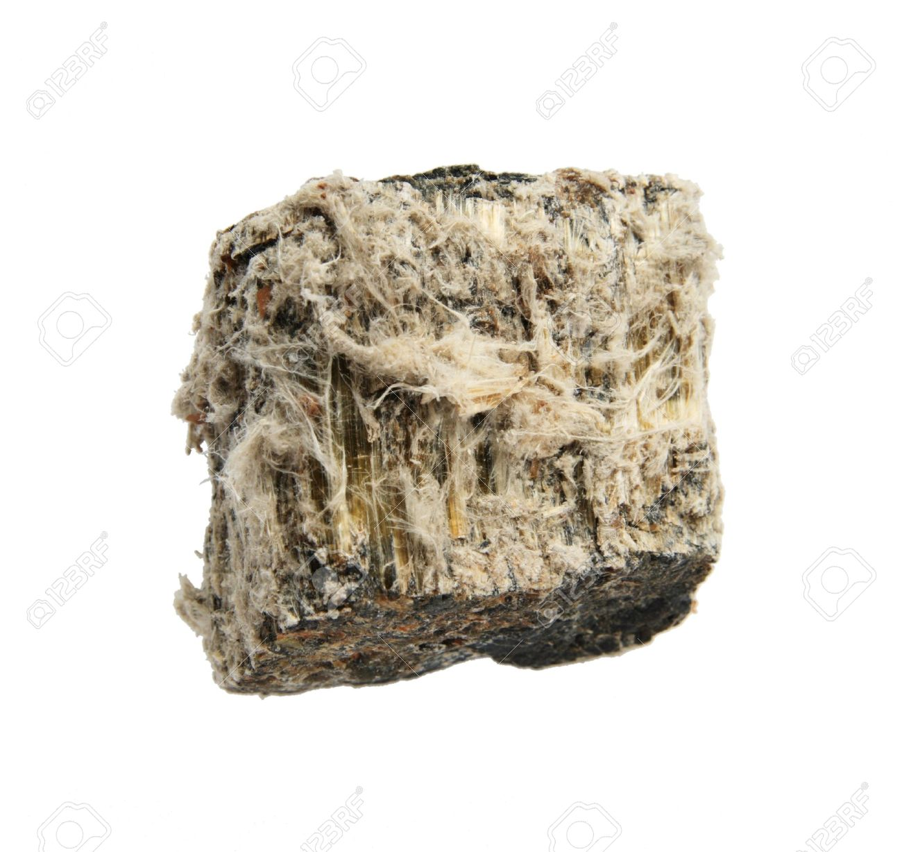 rock sample of mineral asbestos isolated on white Stock Photo - 4422975