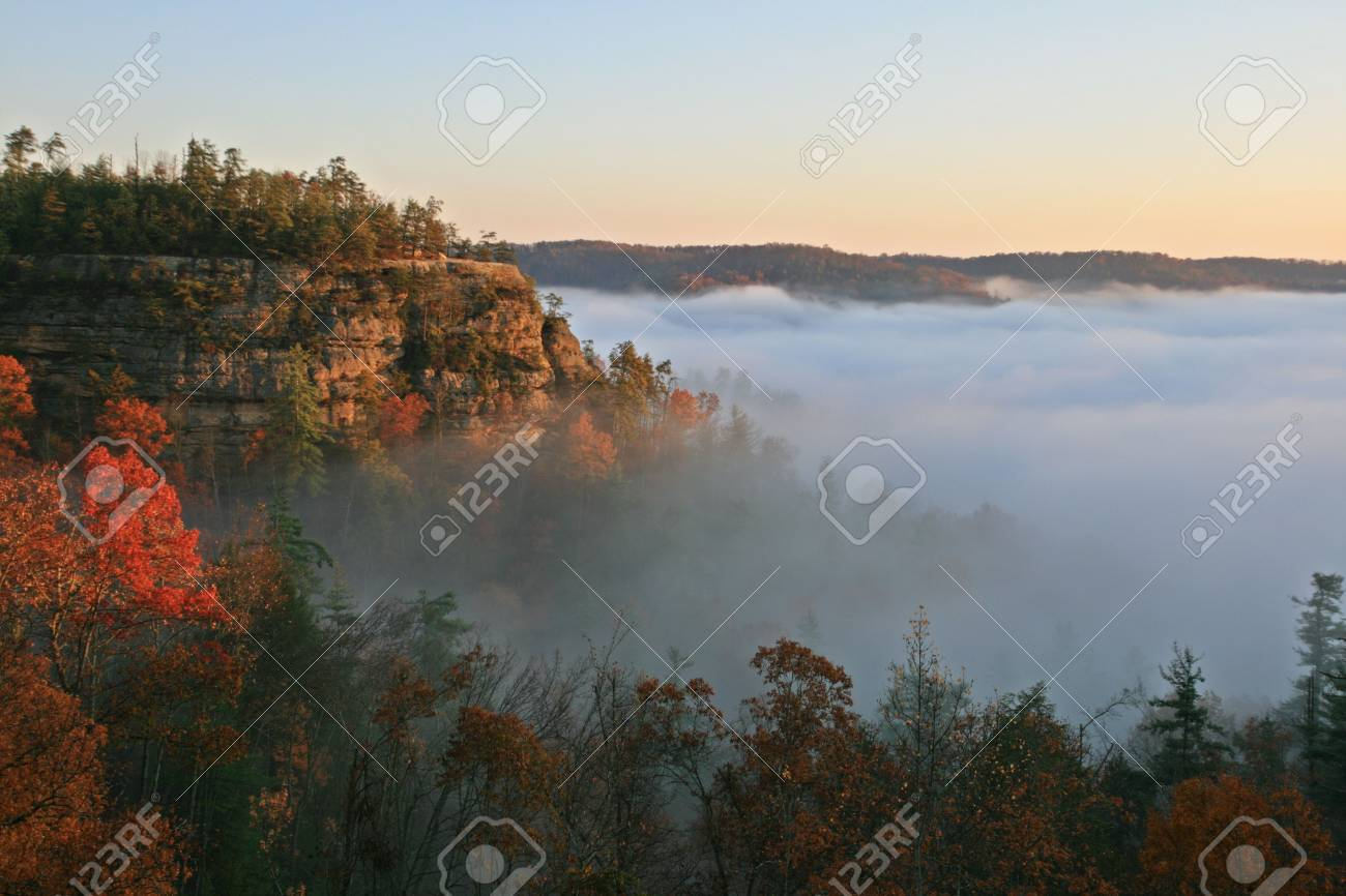 a fog filled valley in the autumn with a fog shrouded sandstone cliff Stock Photo - 6025424