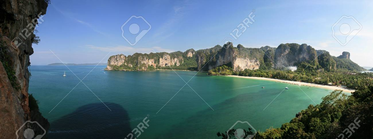 Rai Lay beach peninsula from thaiwand wall, Krabi, Thailand Stock Photo - 6599731