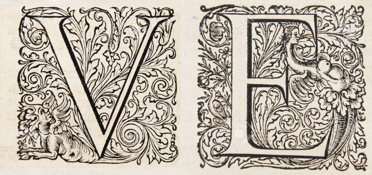 fancy letters v and e from a 17th century bible stock photo 6881783