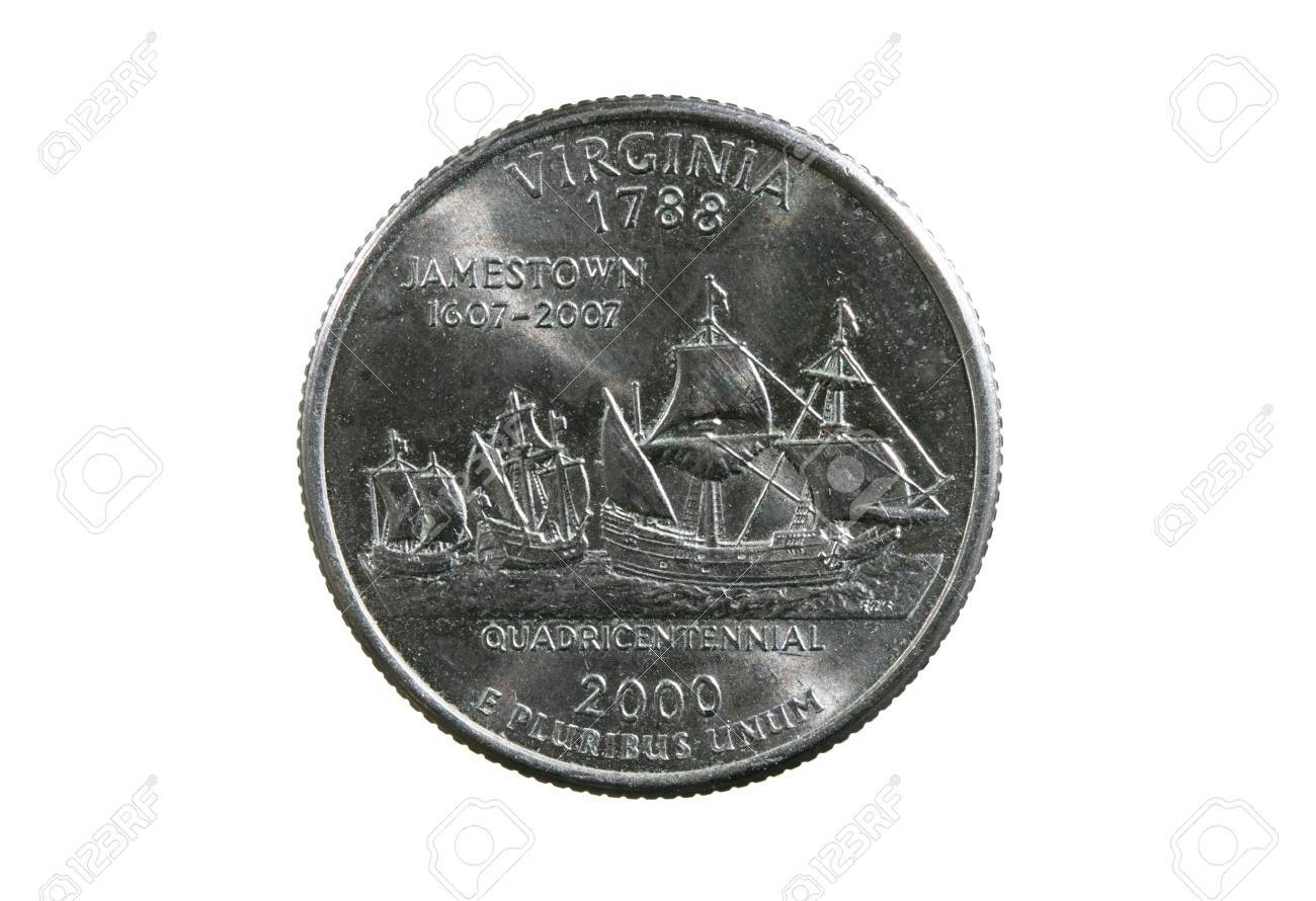 Virginia state quarter coin isolated on white background Stock Photo - 8670891