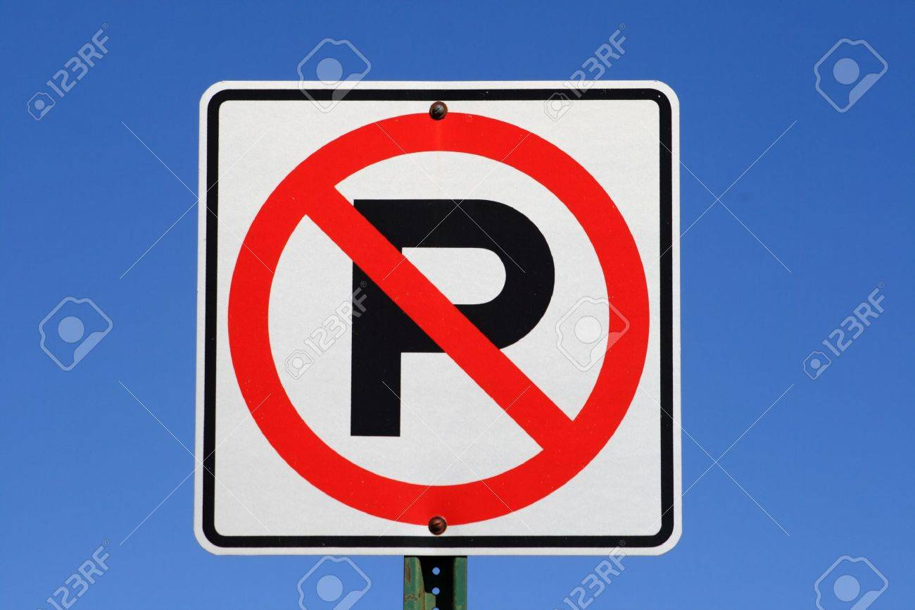 white red and black no parking sign with blue sky background Stock Photo - 9504151