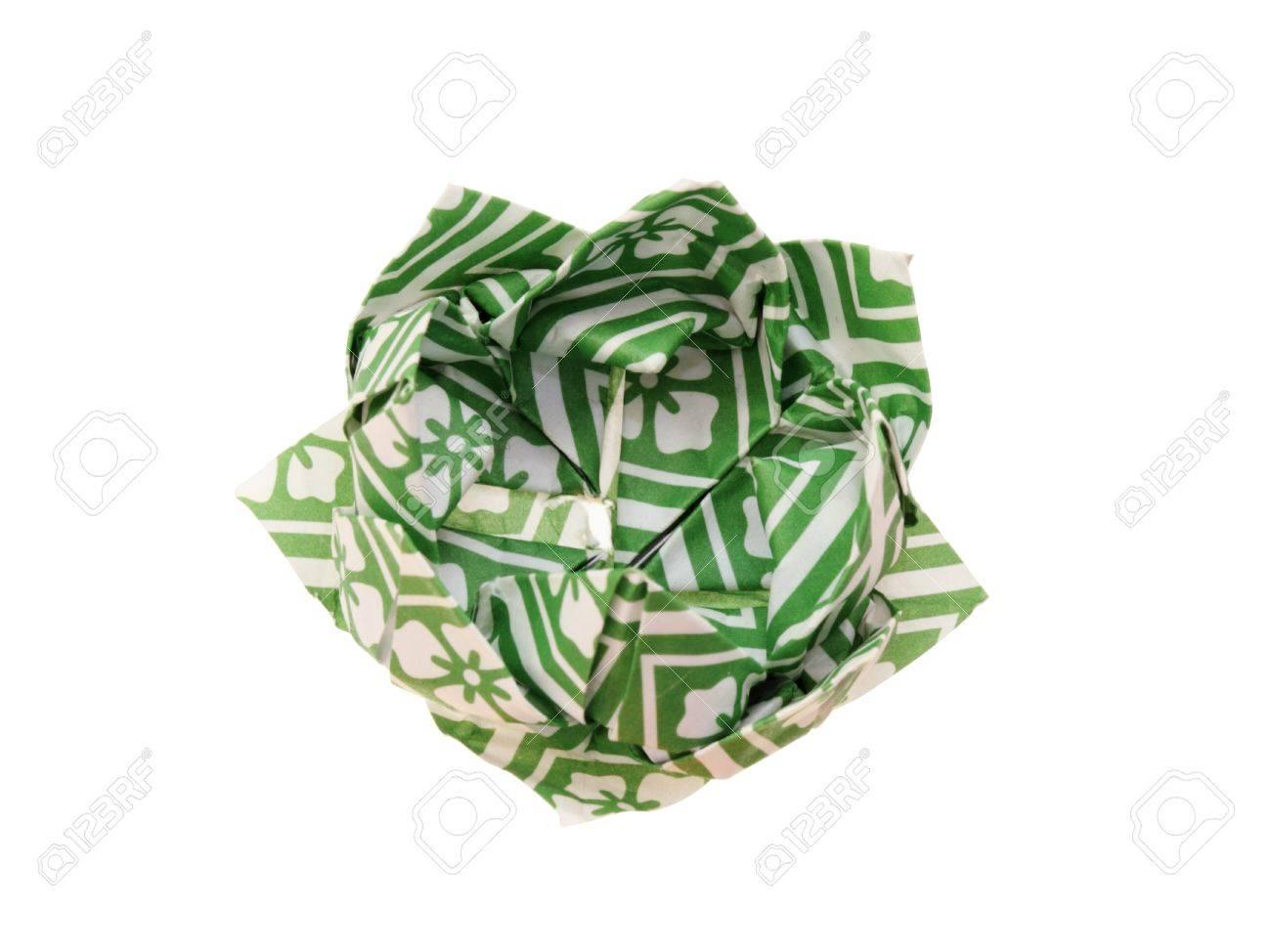Origami Fleur De Lotus Fabriques A Partir De Vert Et Blanc A Motifs