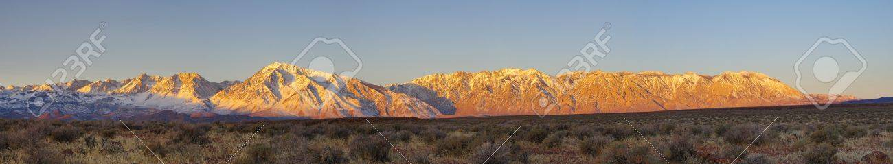 Eastern Sierra sunrise panorama from the volcanic tableland near Bishop California Stock Photo - 12380001