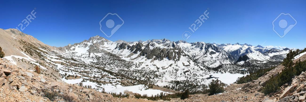 Panorama of Sierra Nevada Mountains including University Peak Kearsarge Pass and Kearsarge Pinnacles Stock Photo - 13551520