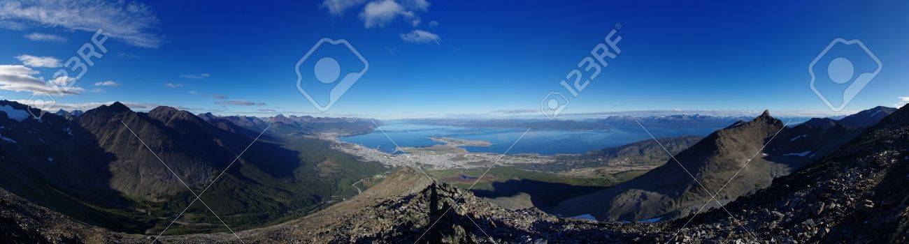 Panorama of Ushuaia and the surrounding mountains and Beagle Channel in Patagonia from above Stock Photo - 19586565