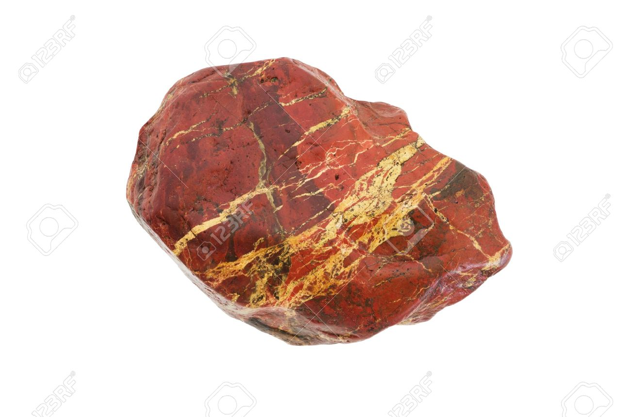 Red Jasper Stone With White Veins Isolated On White Background