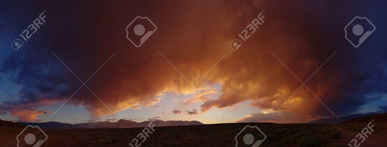 dramatic desert sunset panorama from the volcanic tableland near Bishop California Stock Photo - 24203394