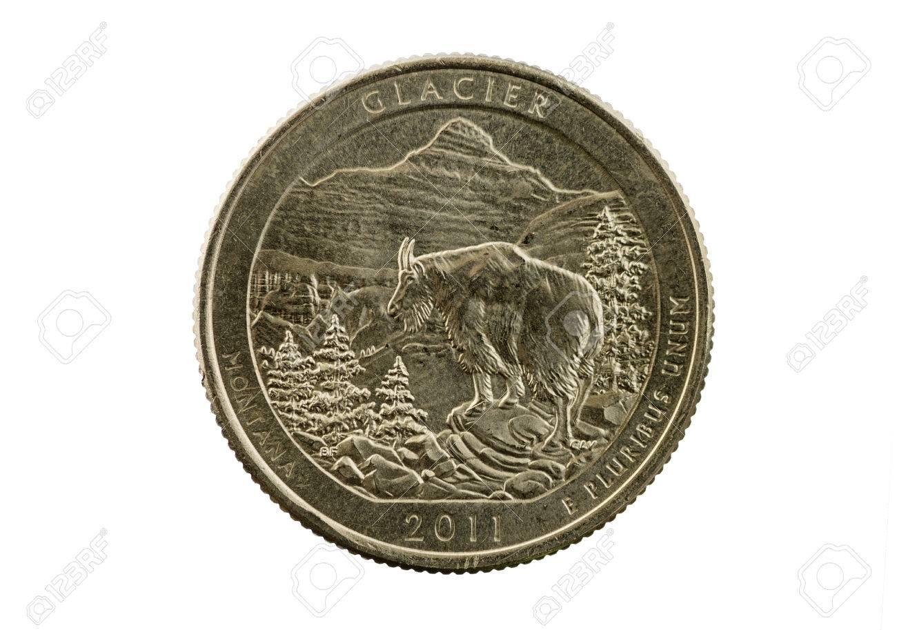 Glacier National Park Montana commemorative quarter coin isolated on white Stock Photo - 24317095