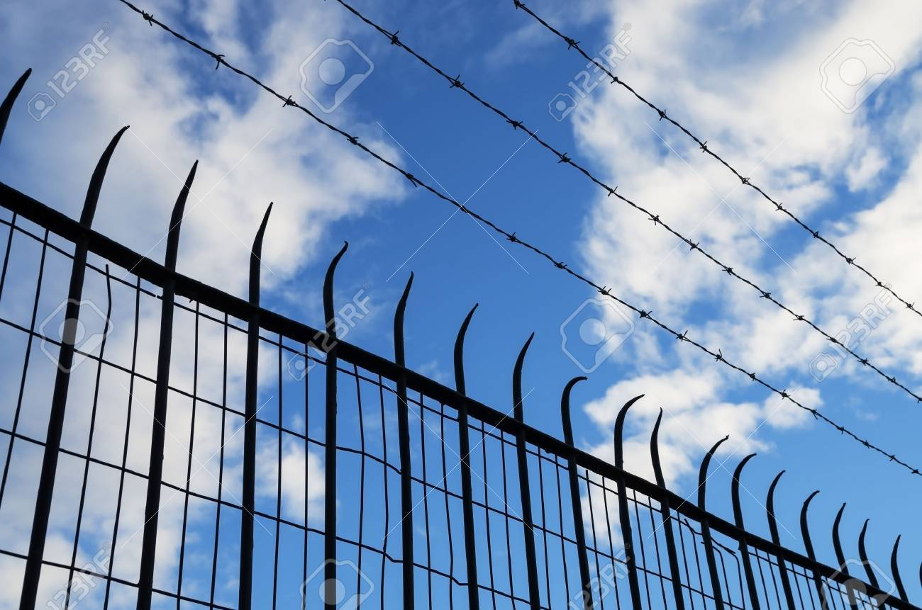 spiked and barb wire mesh fence silhouette Stock Photo - 24878876
