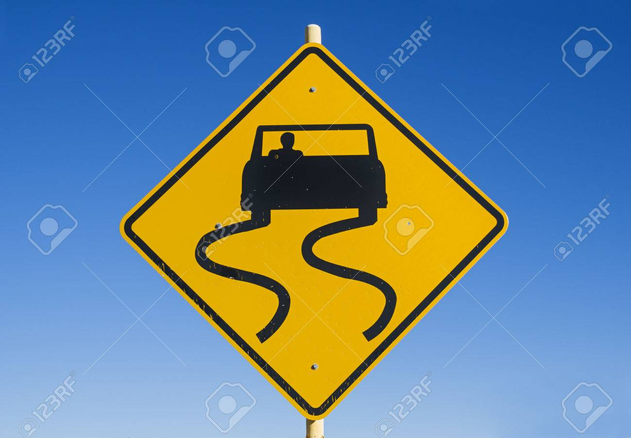 Yellow And Black Caution Slippery Road Sign With Car And Skid - Car sign meanings